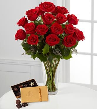 FTD Red Rose Bouquet with Godiva Chocolates - DELUXE