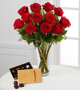 FTD Red Rose Bouquet with Godiva Chocolates