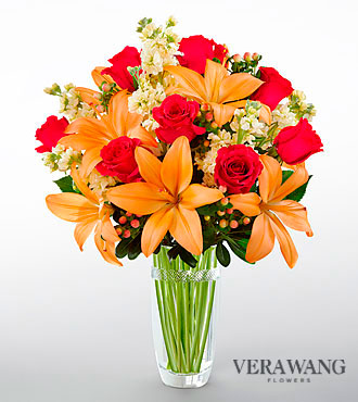 FTD Luxe Looks Bouquet by Vera Wang - CUT GLASS VASE INCLUDED - PREMIUM