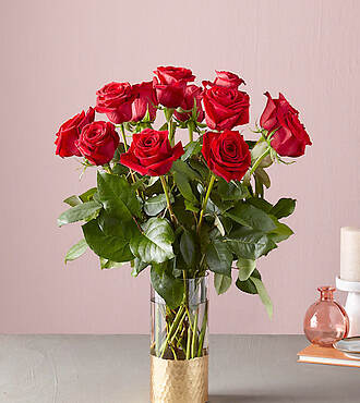 Lovebirds Red Rose Bouquet - 21-V1R