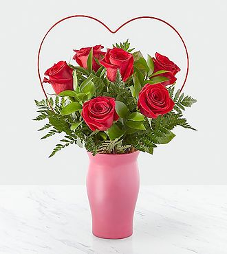 Cupid's Heart Red Rose Bouquet