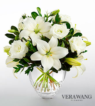 Ftd White Elegance Bouquet By Vera Wang Cut Glass Vase Included