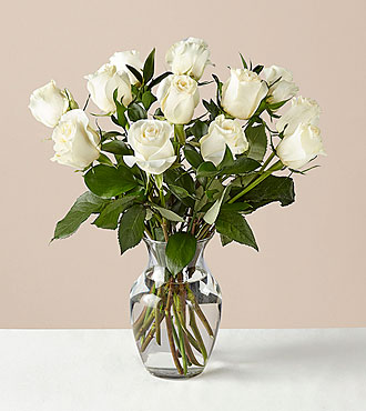 12 Stem Moonlight White Rose Bouquet With Ginger Vase - FedEx - WR12