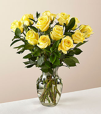 12 Stem Ray of Sunshine Yellow Rose Bouquet in Glass Vase - FedEx - YR12