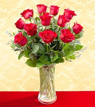 One Dozen Red Roses - Vased - T21_1