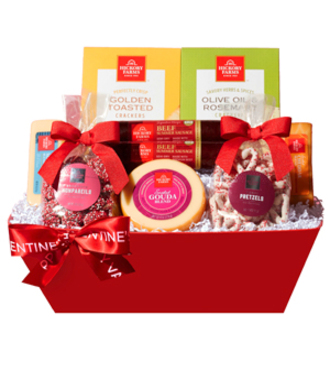 Valentine meat and cheese Gift Basket - WebGift