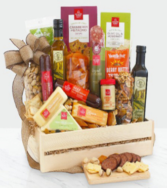 Ultimate Meat and Cheese Wooden Gift Crate - WebGift