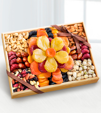 Flowering Gourmet Kosher Dried Fruit and Nut Tray - Large - WebGift