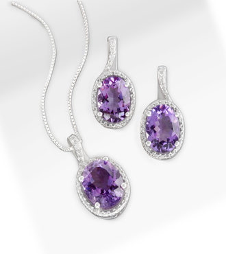 6.0 ct tw Amethyst and Diamond Pendant and Earring Sterling Silver Set - WebGift