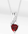 Image of 6mm Garnet Trillion with Diamond Accent Sterling Silver Pendant Necklace - WebGift