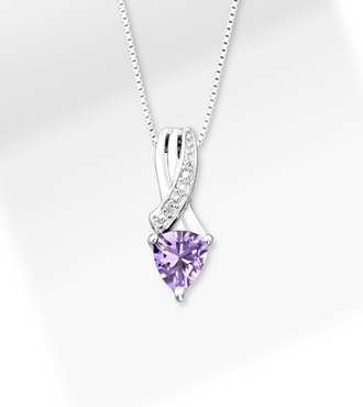 6mm Amethyst Trillion with Diamond Accent Sterling Silver Pendant Necklace - WebGift