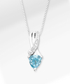 Image of 6mm Blue Topaz Trillion with Diamond Accent Sterling Silver Pendant Necklace - WebGift