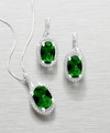 Image of 6.0ct tw Synthetic Emerald and Diamond Pendant and Earring Set - WebGift