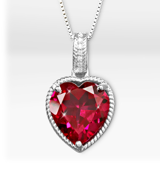 Joyful Heart Ruby and Sapphire Sterling Silver Pendant - WebGift