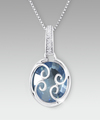 Image of 10mm Round Swiss Blue Topaz with Created White Sapphire Sterling Silver Pendant - WebGift