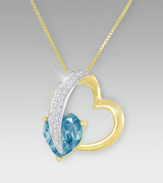 0.20cttw Blue Diamond Sterling Silver Heart Shaped Pendant - WebGift