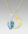 Image of 0.20cttw Blue Diamond Sterling Silver Heart Shaped Pendant - WebGift