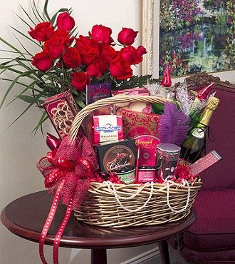 music chocolate candy tatoos and flavored body paints its all there in the love and romance valentines gift basket - Valentines Gift Basket Ideas