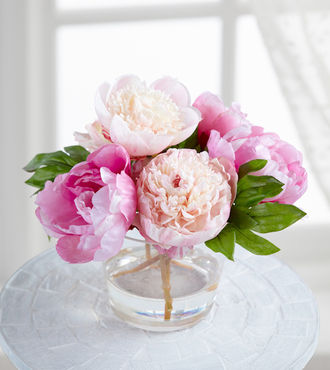 Jane Seymour Silk Botanicals Pink Peonies in Glass Vase - WebGift