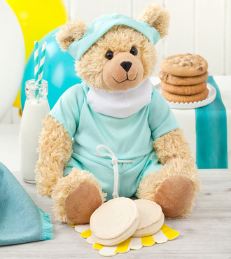 http://www.FlowersFast.com - Mrs. Fields Get Well Scrubs Bear – WebGift